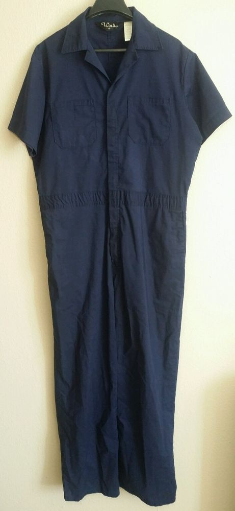Vintage WALLS Coveralls Leisure-Alls Navy Blue Zip Up 50'S 60'S Size Large