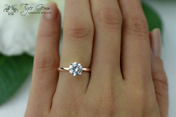 1.5 Karat Verlobungsring, ROSE Solitaire Ring, Man machte Diamond Simulanzlösemittel, 4 Prong Ehering, Bridal Ring, Promise Ring, Sterling Silber
