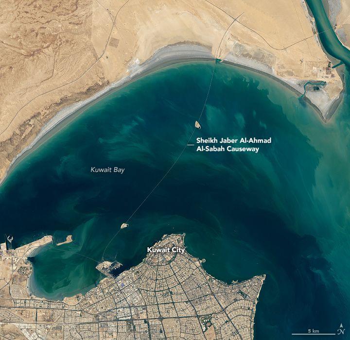 Kuwait S Amazing Sheikh Jaber Al Ahmad Al Sabah Causeway To Silk City Sabah Kuwait Nasa Earth