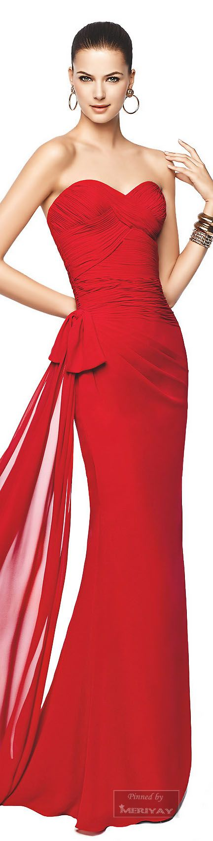 #formalwear - A beautiful Red ruched evening gown.  A strapless knock out dress for your formal special occasion. If you are interested in affordable custom evening dresses or replicas please contact us www.dariuscordell.com