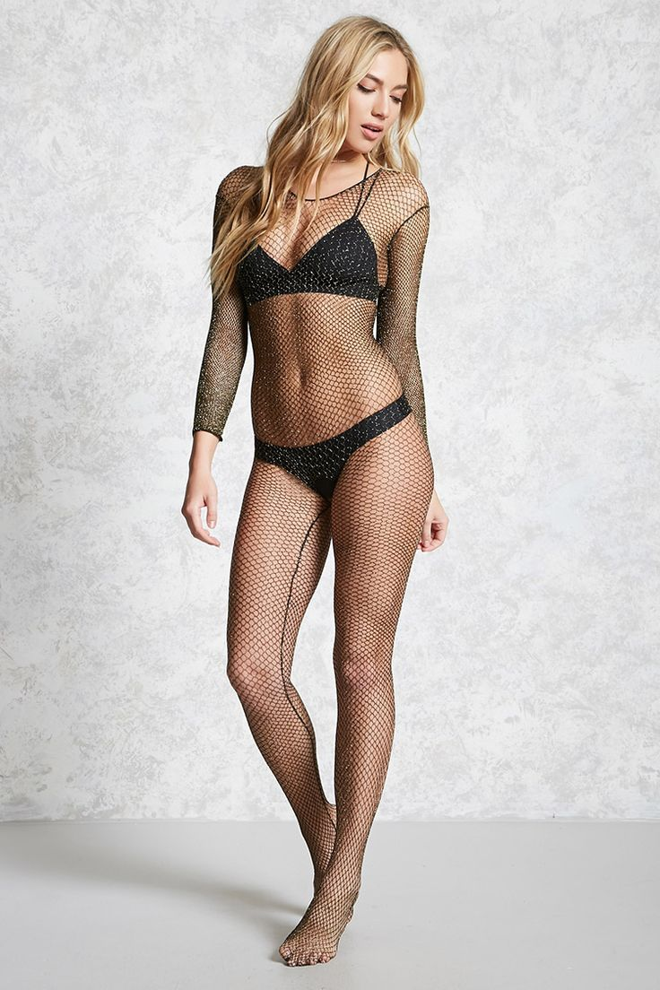 A sheer fishnet bodysuit featuring a metallic design, a scooped neckline, and long sleeves. This is an independent brand and not a Forever 21 branded item.