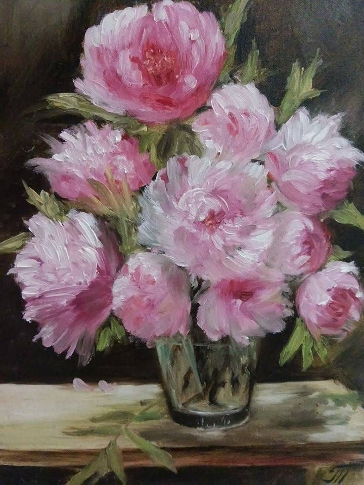 View and buy Bouquet of peonies in a vase 30*40 in the frame  oil painting by ClaireArtCafe on Etsy