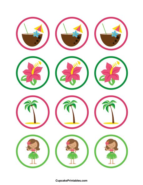 Hawaiian cupcake toppers. Use the circles for cupcakes, party favor tags, and more. Free printable PDF download at http://cupcakeprintables.com/toppers/hawaiian-cupcake-toppers/
