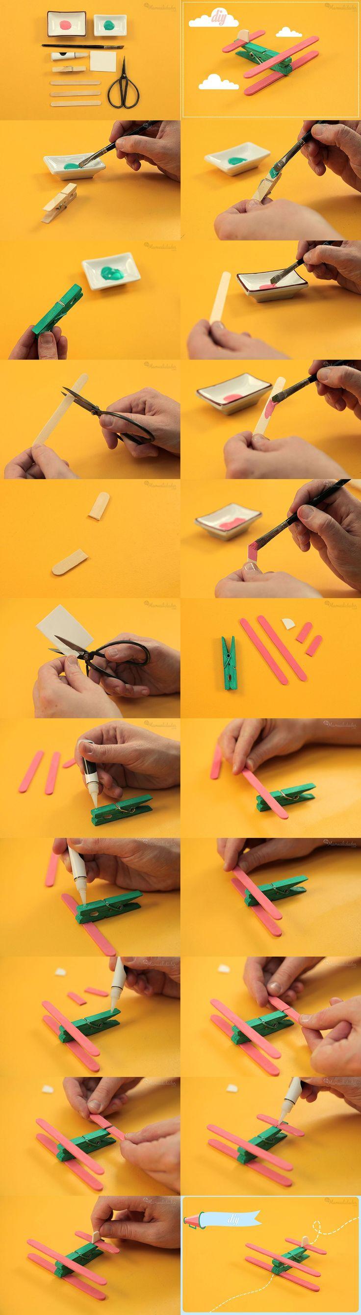 avioneta juguete pinzas palitos DIY muy ingenioso 2