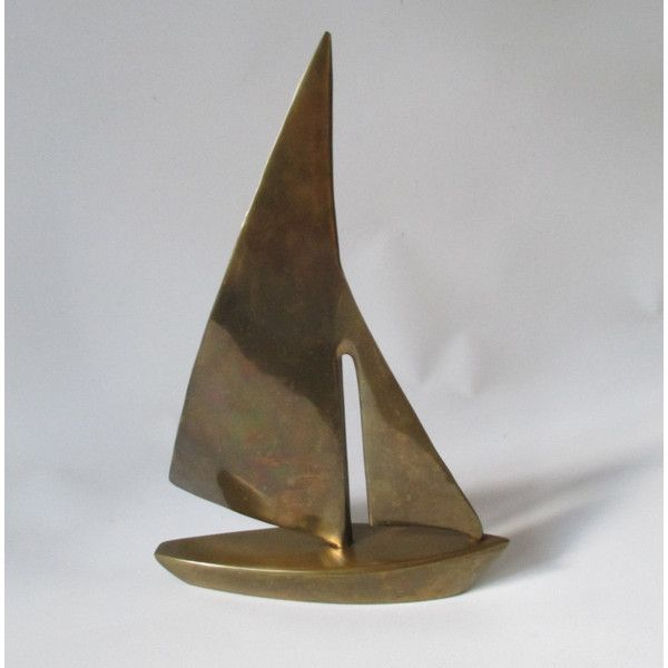 Brass Sailboat, Vintage Model Boat Office Den Library Desk Accessory Racing Sloop Marine Maritime Ocean Beach Lake Cabin Cottage Decor ($15) found on Polyvore featuring home, home decor and office accessories