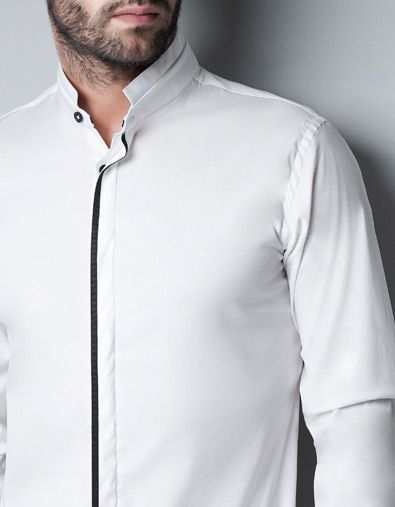 SHIRT WITH MAO COLLAR AND GROSGRAIN RIBBON