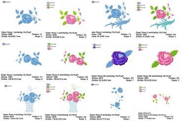 Rose Vintage Stickmuster Set - 14 Dateien