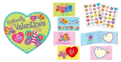 Butterfly Valentines by Peaceable Kingdom Press. $5.99. 20 Butterfly Valentine Cards plus Stickers! Just Sign, Fold and Seal!. Save 39% Off!