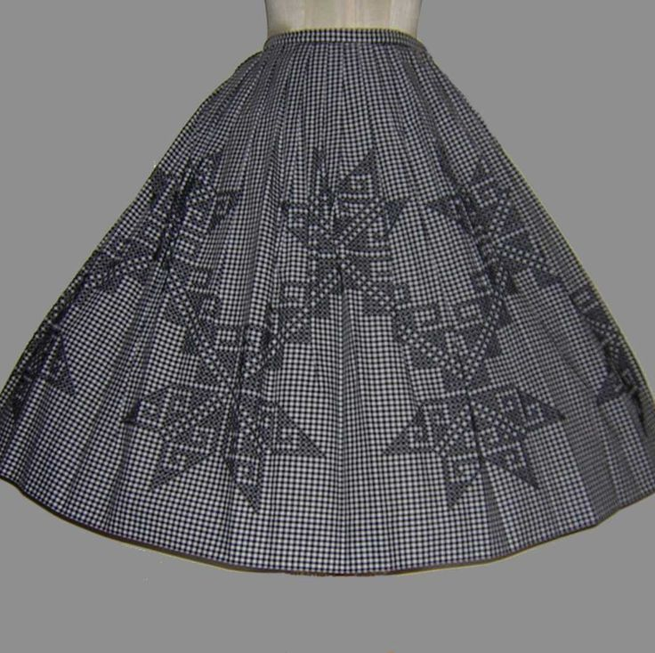 50's Cross Stitched Skirt - My grandma made me a beautiful turquoise gingham dress with a cross-stitched pattern.  Oh I I wish I still had it.  It was beautiful.