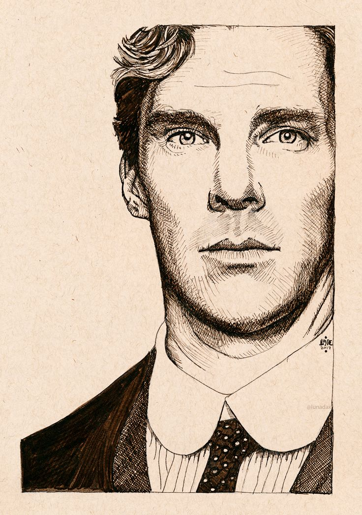 Benedict Cumberbatch as Christopher Tietjens, for the BBC series Parade's End. Done in Sepia Pigma Micron pen and brush pen on Strathmore Toned Tan paper.