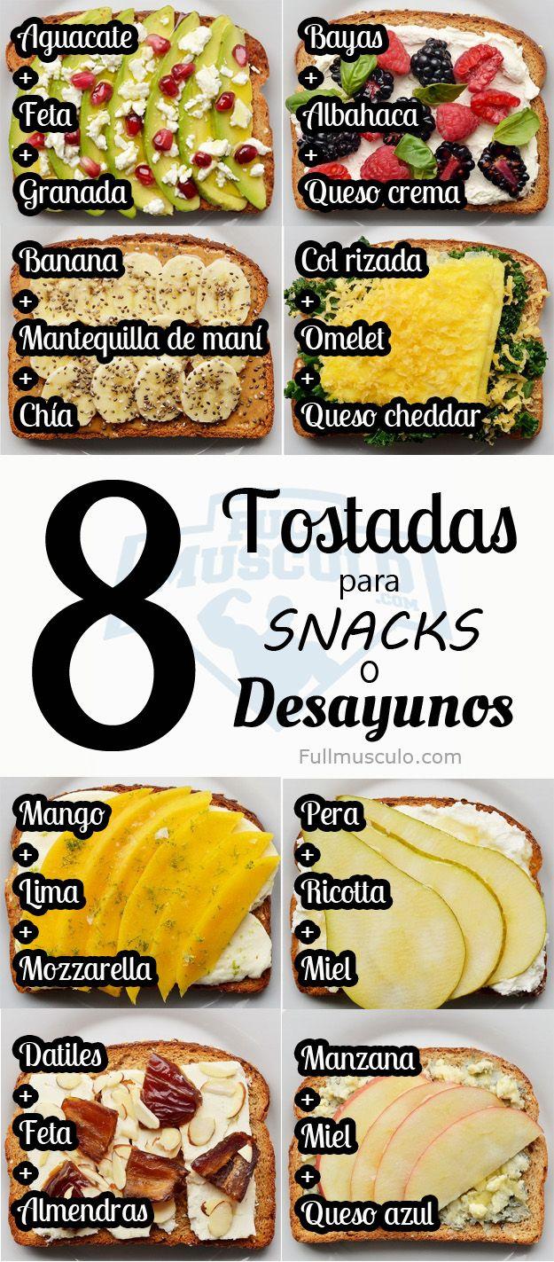 Recetas deliciosas de Tostadas para snacks y desayunos. #Fitness #Salud #Health #Diet #Dieta #Nutrition #Nutricion