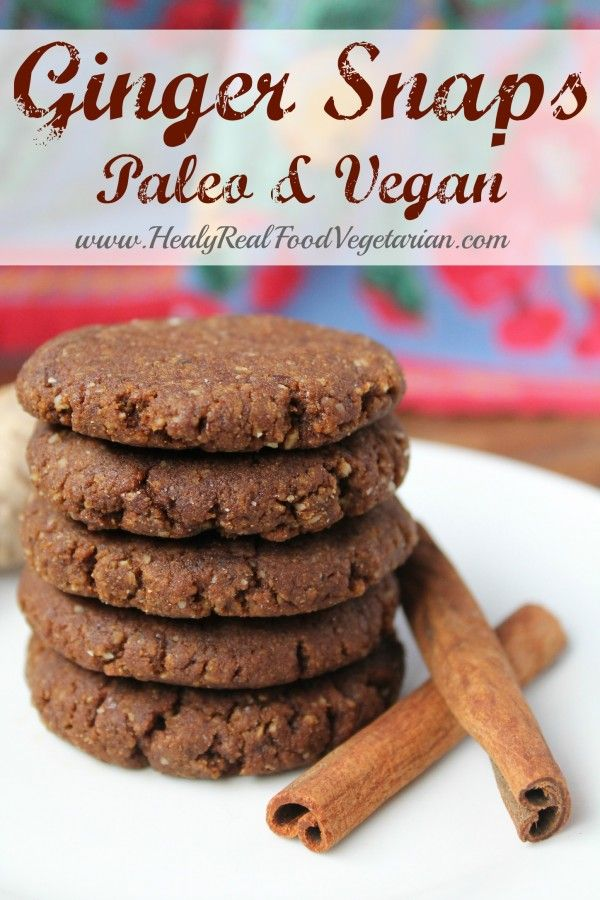Ginger Snap Cookies (Paleo, Vegan) @ Healy Real Food Vegetarian Click here to see the recipe- http://www.healyrealfoodvegetarian.com/ginger-snap-cookies-paleo-vegan/ #gingersnaps #cookies #realfood #paleo #vegan
