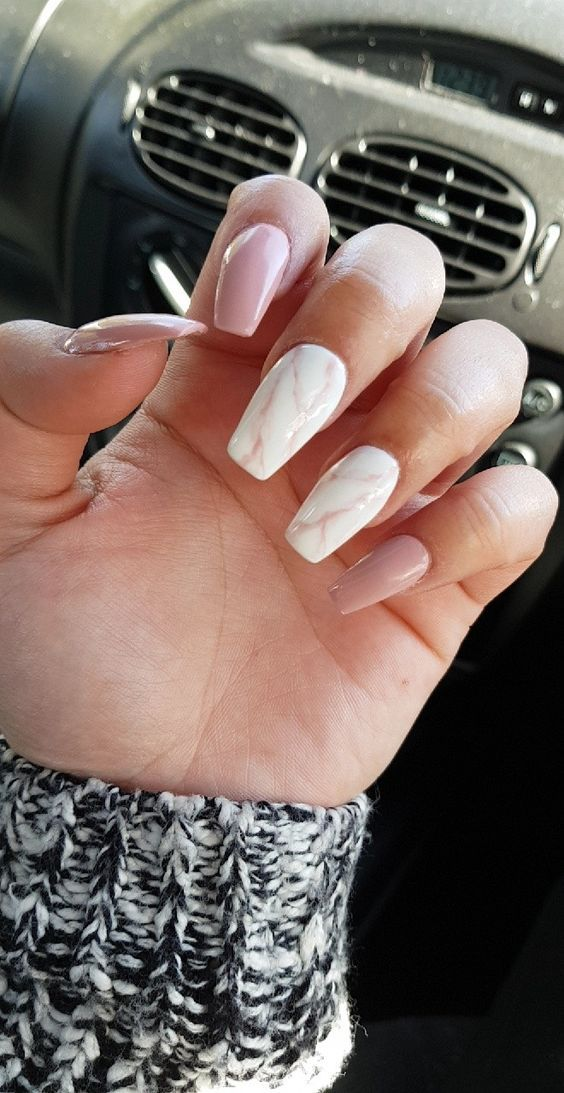 Marble nails pink white. Are you looking for short coffin acrylic nail design that are excellent for this season? See our collection full of cute short coffin acrylic nail design ideas and get inspired!