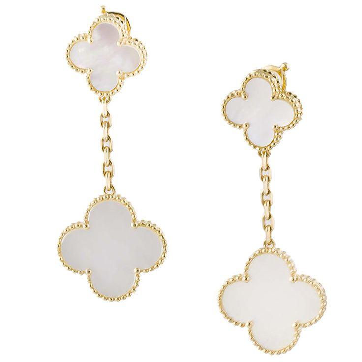 Van Cleef & Arpels  Alhambra 18K Gold Mother-of-Pearl Earrings #Earrings #Van_Cleef_&_Arpels