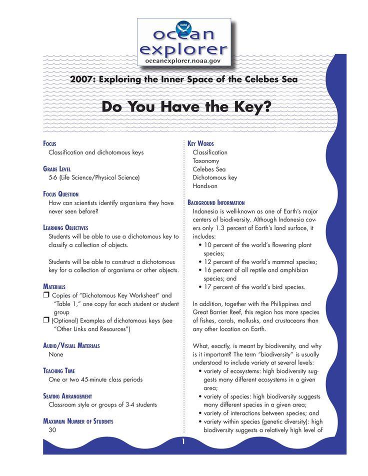 Dichotomous Key Worksheet Pdf in 2020 | Dichotomous key ...