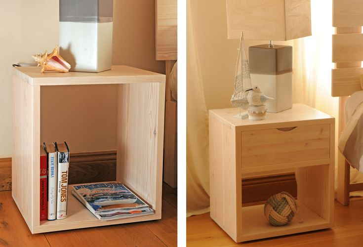 Tall Cube Bedside Table, Handmade, Wood, Wooden, Uk