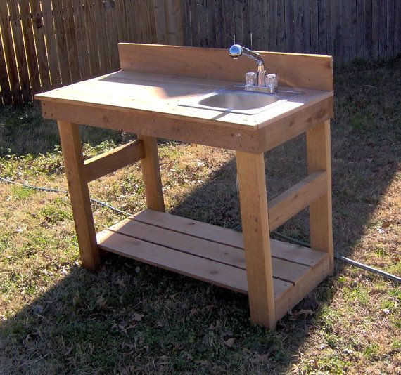 Brand new 4 foot cedar potting bench with sink free shipping for Homemade fish cleaning table