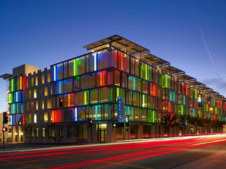 Art in Surprising Places: The world's first LEED-certified parking garage, built in 2007. Santa Monica Civic Center, Santa Monica, California.
