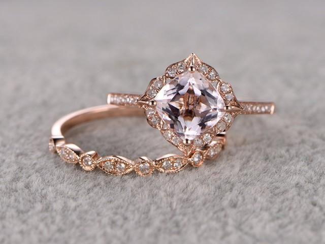 2pcs Morganite Bridal Ring Set,Engagement ring Rose gold,Diamond wedding band,14k,7mm Cushion. Love it