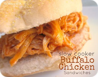 Slow Cooker Buffalo Chicken Sandwiches from SixSistersStuff.com.  A quick and delicious meal your family will love! #recipes #chicken