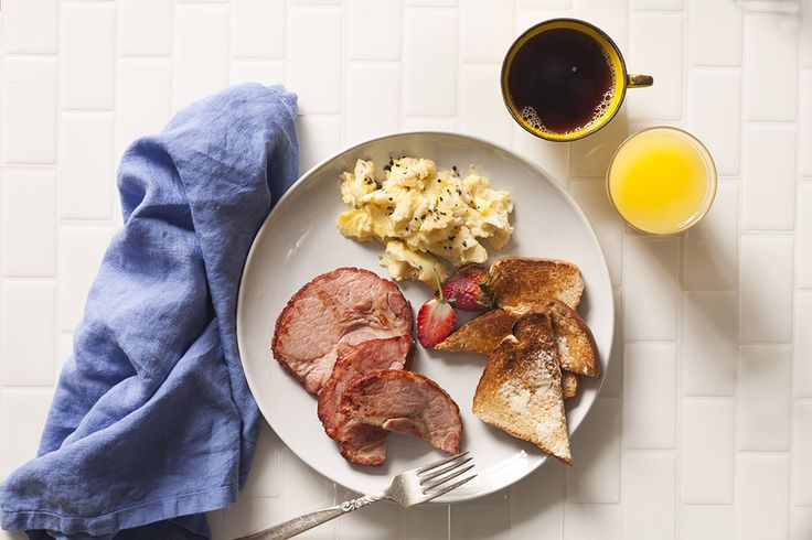 Breakfast has never looked this good! Scrambled eggs, some of that Capital Smoked Pork Cottage Roll, and toasts!