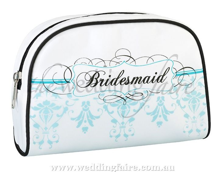 "This stylish white travel bag (made of satin-covered vinyl) makes a great gift for the bridesmaid.  It measures 18.5cm wide x 12cm tall and 5.7cm deep, making it easy to carry.  The edges are lined in black, including the zippered opening at the top.  The front side is silkscreened with an aqua and black design that says ""Bridesmaid.""  No inside pockets.  Also available in a ""Bride"" version."
