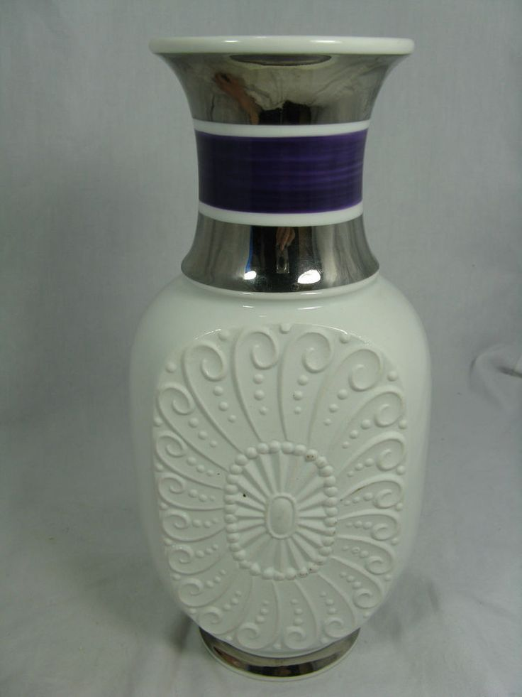 70´s Pop Art Design Royal KPM relief porcelain Porzellan vase 741 / 2  24 cm