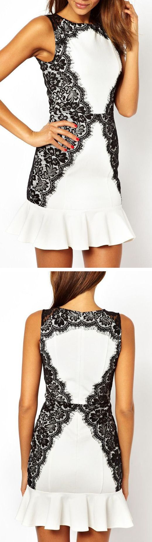 Lace Trim Ruffle Dress //