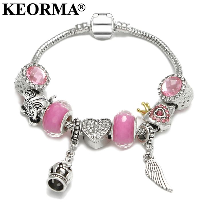 KEORMA Vintage Summer Style Feather Dangle Charm Bracelet for Girls Snake Chain Diy Handmade Pink Bracelet Femme Jewelry KM359 #Affiliate