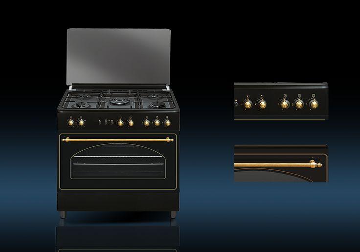 Cocina Rústica a Gas Butano o Gas Natural. Acabado rústico, color antracita.  RU9060B