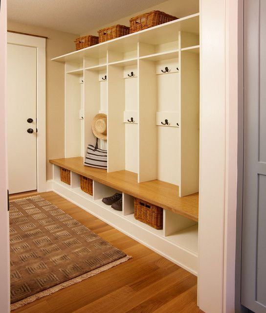 Garage locker ideas.  Either before going inside (without the wood flooring) or inside right as you enter.
