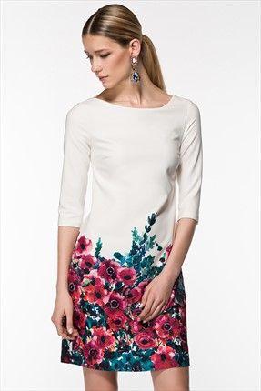 Milla by trendyol  - Çiçek Desenli Beyaz Elbise MLWSS142095 %50 indirimle 89,99TL ile Trendyol da