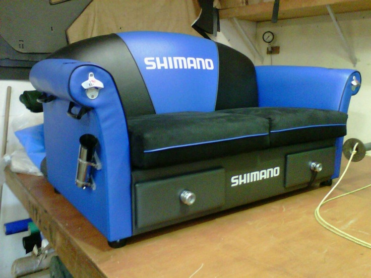 "Sweetmans Reel Fishin' in Huntly has made an epic Shimano couch - the drawers are ""ice boxes"" to keep the essential refreshment cold and on hand, knobs are reel spools, bottle openers on each arm, rod holders included and the rest is simply mint.    Heaps of awesome!!"