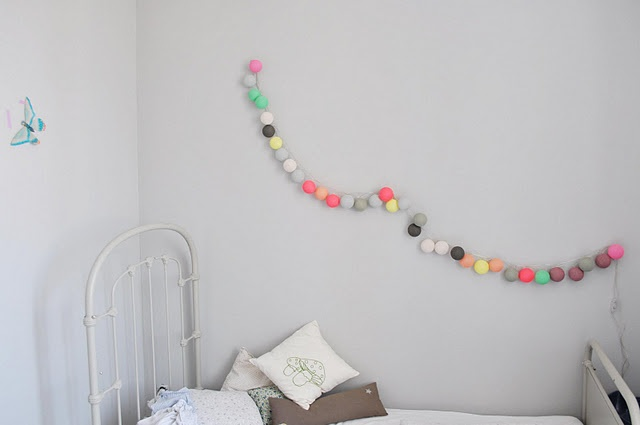 Love the bed and light garland