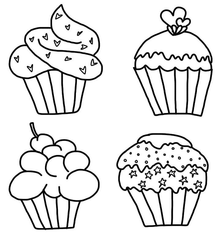 kleurplaat Cupcakes