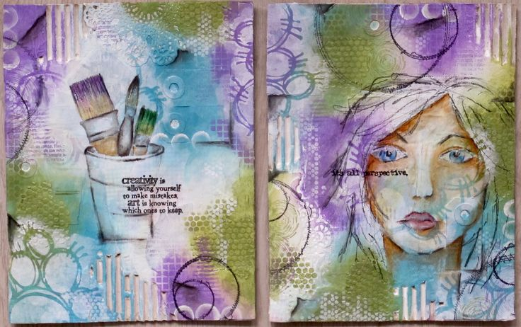 Cover from cardboard for my home made art journal. Used Acrylic paint in combination with Derwent Coloursoft pencils