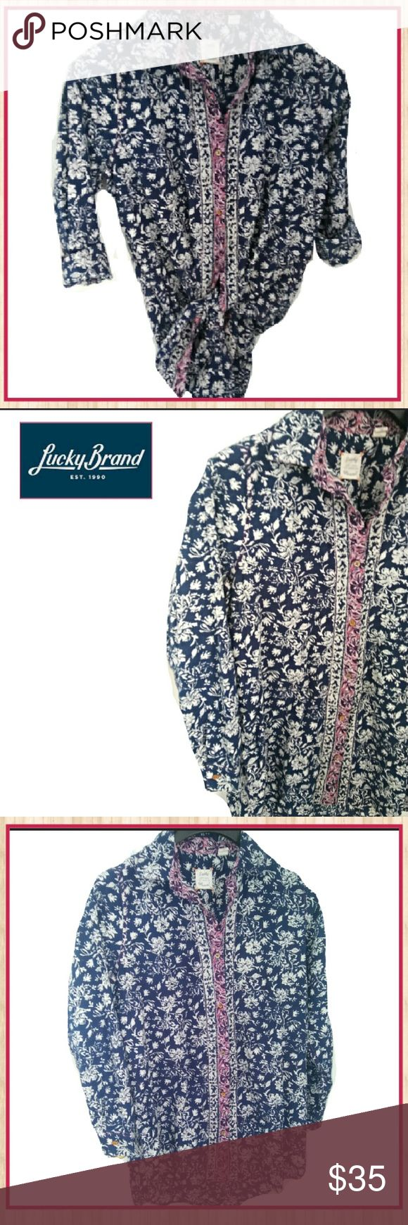 Lucky Brand NWOT Lucky Brand Button Down for Ladies This floral button down by Lucky Brand is so versatile! You can wear it: tucked in with arms rolled down or up, you can tie up front, as seen on picture 1, and sleeves down or up OR you can leave untucked if you wish. Wear with jeans, shorts, khakis, sandals or tennis shoes. Just about any shoe will work with this top! Make us an offer or hit buy now today! Rock'N Ship is top rated and we add new items daily! Lucky Brand Tops Blouses