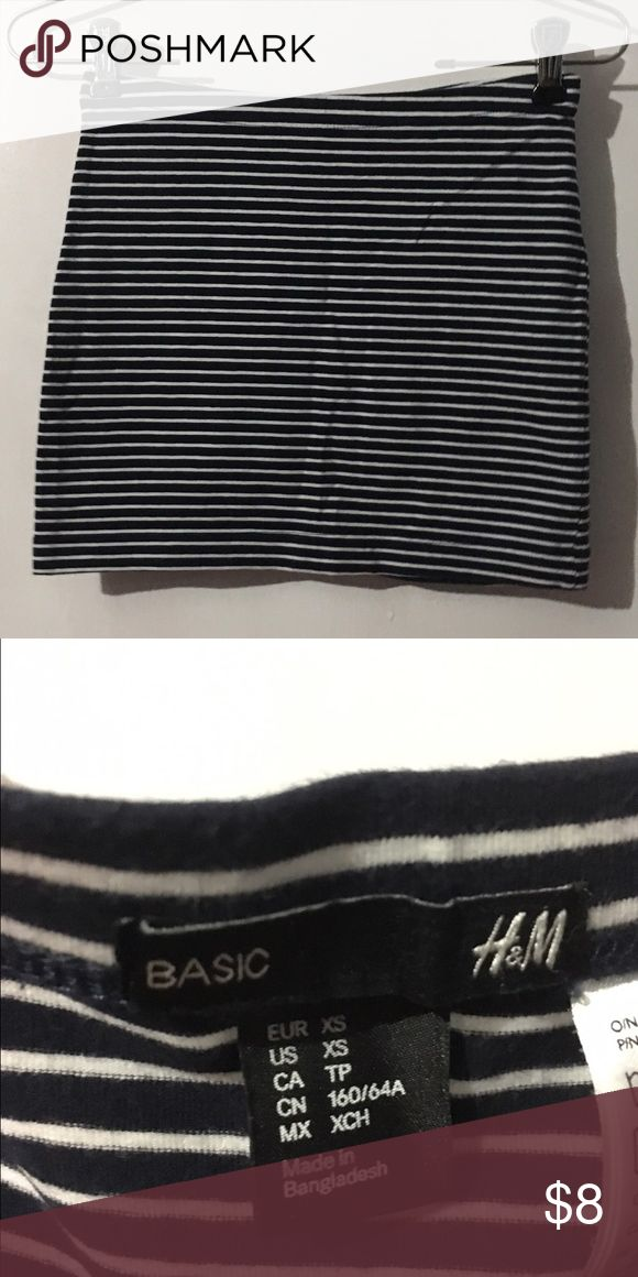 H&M Striped Black and White Mini Skirt Used with no flaws! H&M Skirts Mini