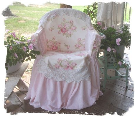 Shabby chair......just a cover over a typical plastic lawn chair.  I've made these.  Make a simple pattern from newspaper and voila!!!
