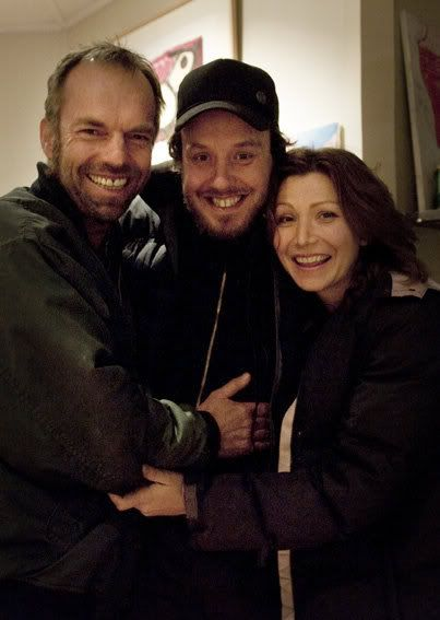 Hugo Weaving, Glendyn Ivin and Anita Heghe on the set of Last Ride (rehearsals)