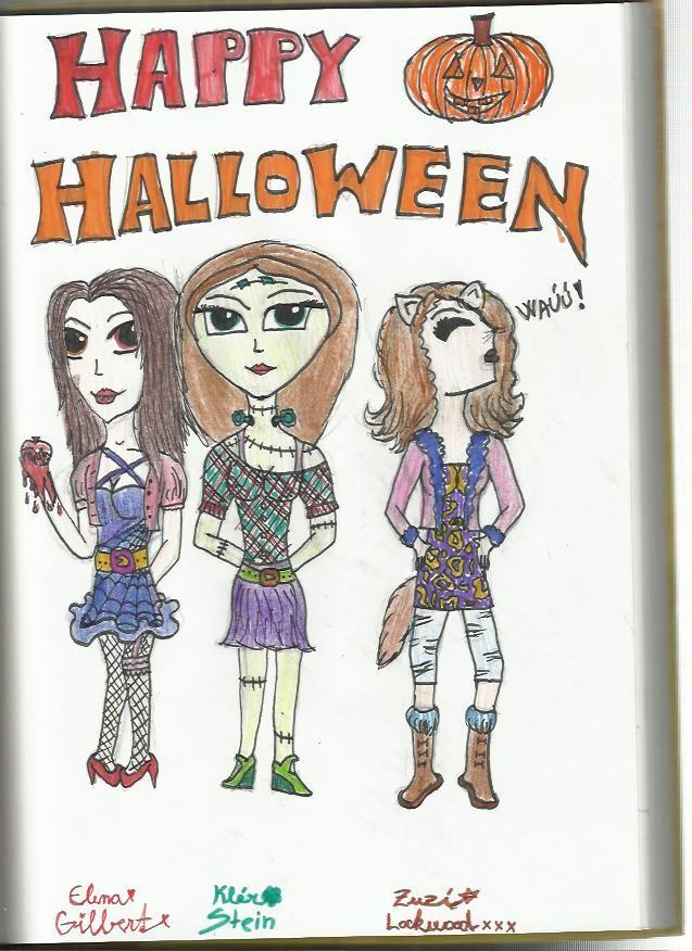 Happy Halloween!!! :3 :D by ME :) Elena=vampire me=Frankenstein Zuzí=varewolf <3