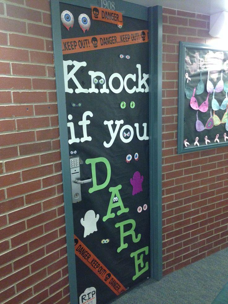 dorm room door decorating contest for halloween youd be surprised who knocks - Cute Halloween Door Decorations