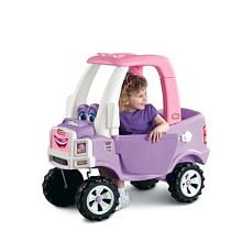 The Little Tikes Princess Cozy Truck features a realistic design, with rugged, off-road wheels, a working driver's-side door and gas cap and a steering wheel with a working horn.