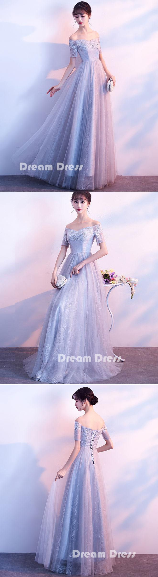 Gray tulle lace off shoulder long prom dress, gray evening dresses,PD290001 #promdresses #shopping #fashion #dresses #evening