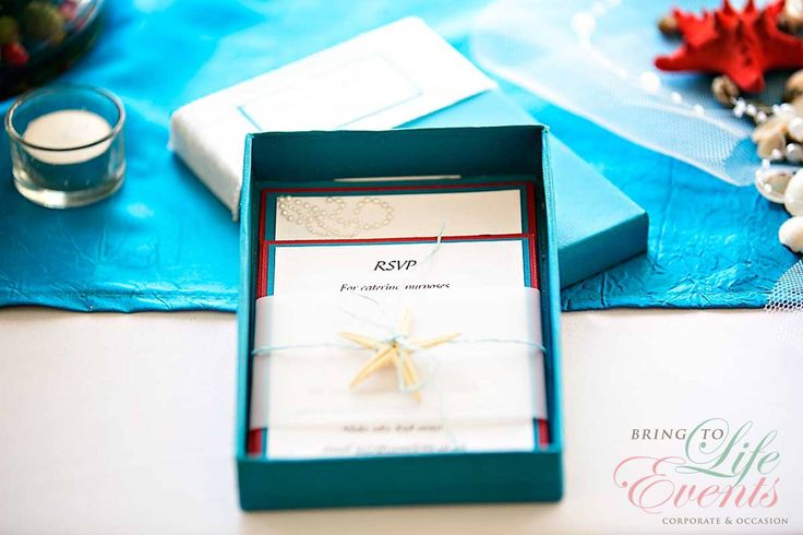 Under the Sea box wedding invitation with star fish and pearls