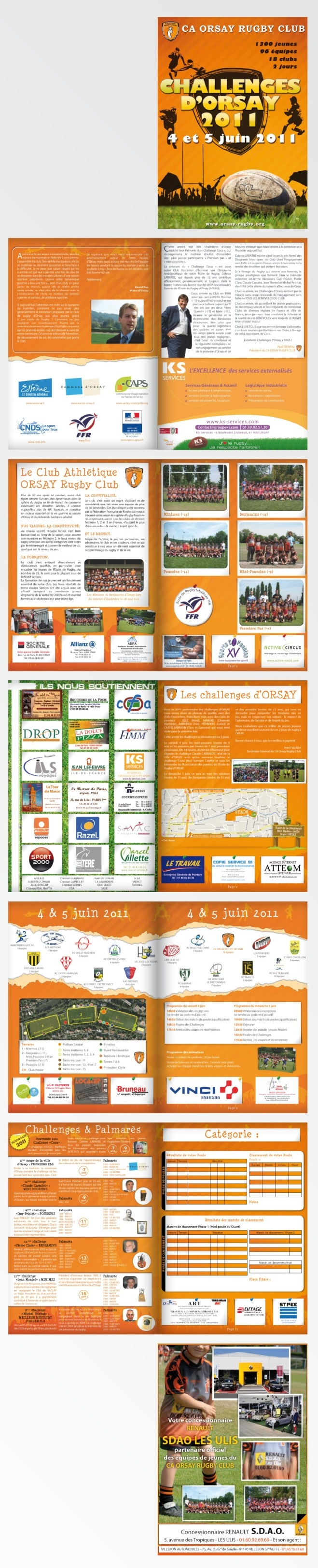 #Plaquette / #Brochure #Rugby 12 pages pour le CA ORSAY RUGBY CLUB - #Orsay (91, France) - Challenges 2011