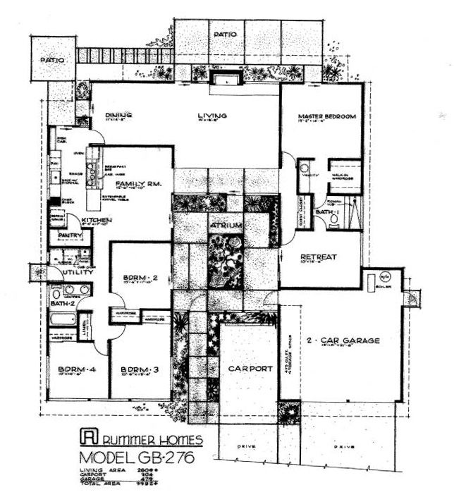 99 best retro house plans images on pinterest floor for Mid century modern home floor plans