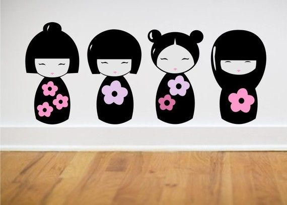 Kokesha Dolls Wall Decals set of 4 cute Japanese Style doll decals