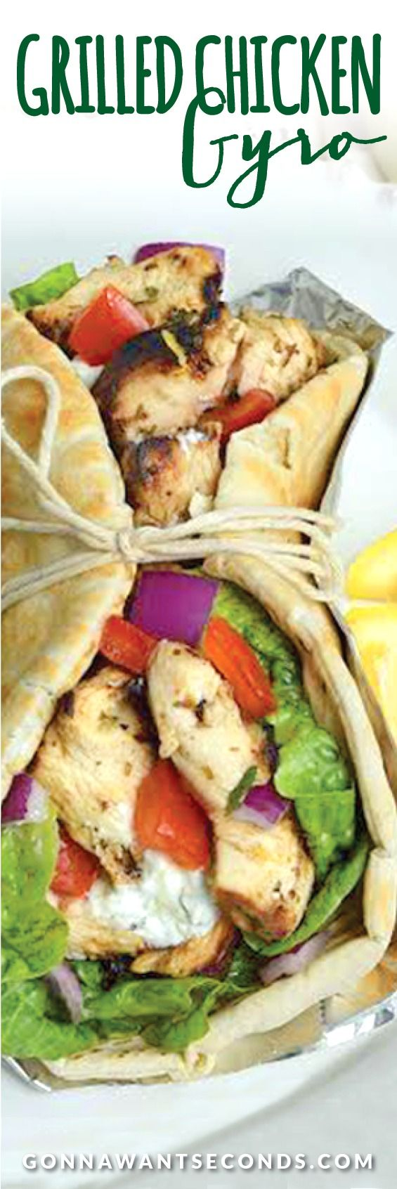 These delicious Chicken Gyros are loaded with tender, moist super flavorful grilled chicken, fresh tomato, red onion and wonderful homemade Tzatziki! Seriously better than anything from a Gyro stand.