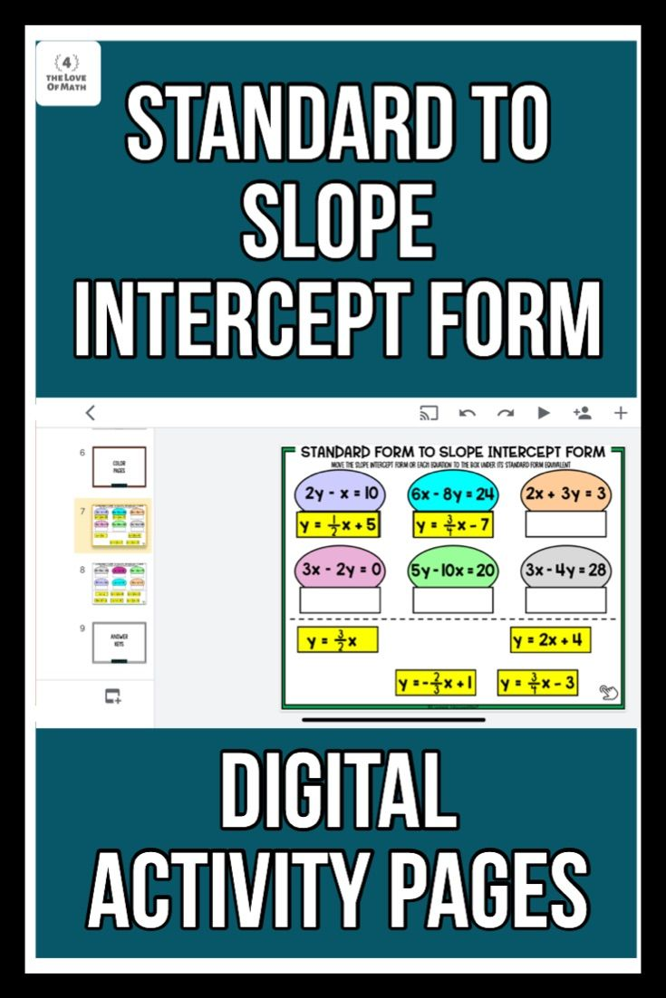 standard form to slope intercept form Standard form of a Line to Slope Intercept Form Digital Activity